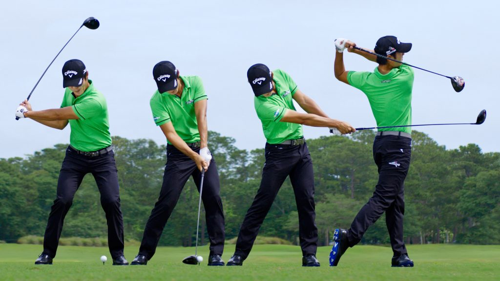a man in four different position, referencing the proper posture during a golf swing