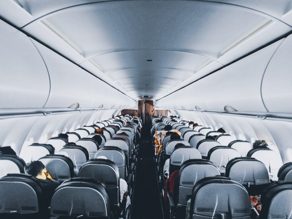 airplane aisle view